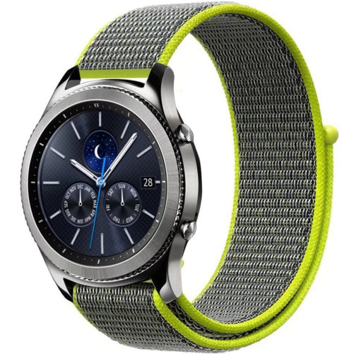Curea ceas Smartwatch Garmin Fenix 3 / Fenix 5X, 26 mm iUni Soft Nylon Sport, Grey-Electric Green