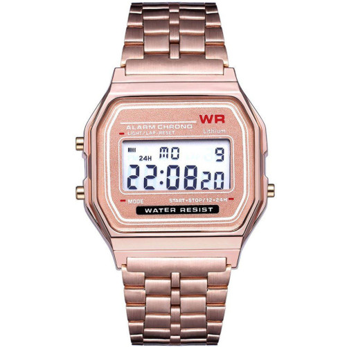 Ceas Electronic Digital Retro iUni WR1, Curea Metalica, Lady Rose Gold