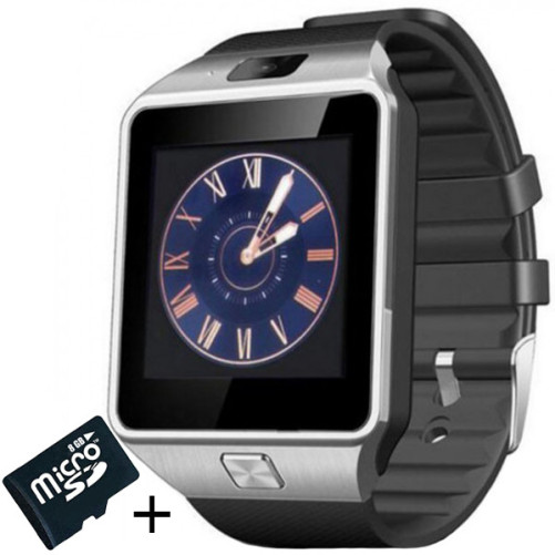 Smartwatch iUni DZ09 Plus, Camera 1.3MP, BT, 1.54 Inch, Argintiu + Spinner Cadou