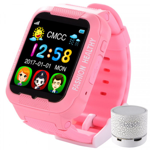 Ceas GPS Copii iUni Kid3, Telefon incorporat, Touchscreen 1.54 inch, BT, Notificari, Camera, Roz + Boxa Cadou