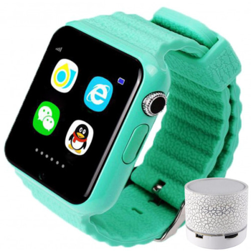 Smartwatch cu GPS Copii si Seniori iUni V8K, Pedometru, Touchscreen 1.54 inch, BT, Notificari, Camera, Green + Boxa Cadou