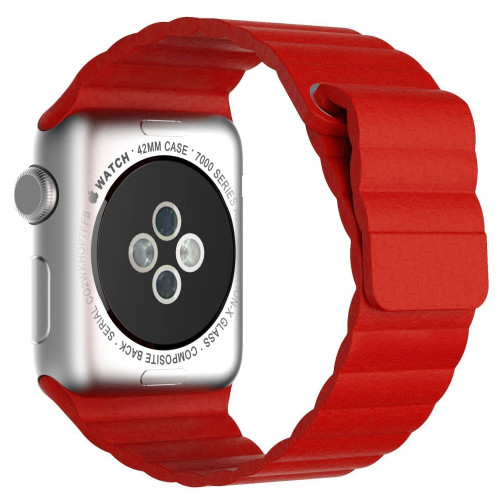 Curea piele pentru Apple Watch 42mm iUni Red Leather Loop
