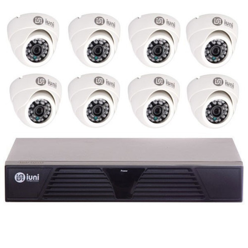 Sistem Supraveghere iUni 8 Camere CMOS 1 MP, 24 Led IR, DVR 8 Canale HD 720p, HDMI, VGA, 2 USB, LAN, PTZ, 4 canale audio