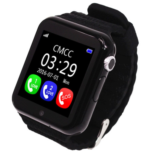 Ceas GPS Copii si Seniori iUni V8K, Touchscreen 1.54 inch, Pedometru, Bluetooth, Notificari, Camera, Black