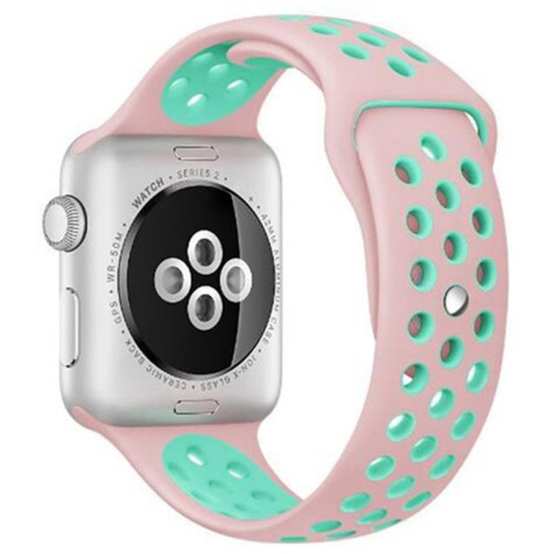 Curea pentru Apple Watch 38 mm Silicon Sport iUni Pink-Blue