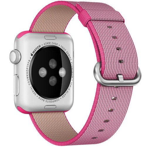Curea pentru Apple Watch 42 mm iUni Woven Strap, Nylon, Roz Electric