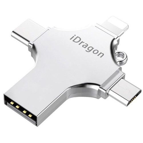 Stick USB-C 64GB iUni iDragon 4 in 1 Lightning, MicroUSB, Type-C, USB 3.0, Smartphone iOS si Android