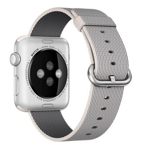 Curea pentru Apple Watch 38 mm iUni Woven Strap, Nylon, White Gray