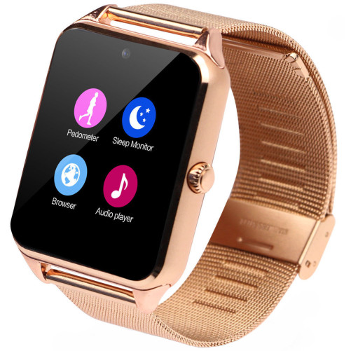 Ceas Smartwatch cu Telefon iUni Z60, Curea Metalica, Touchscreen, BT, Camera, Notificari, Gold