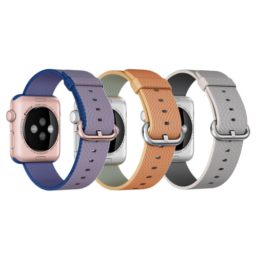 Set 2+1 Gratis, Curele Apple Watch iUni 38 mm Woven Strap, Nylon, Gold Red, White Gray, Electric Purple