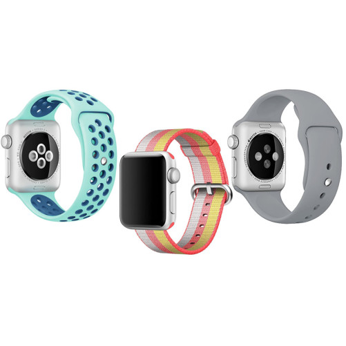 Set 2+1 Gratis, Curele Apple Watch iUni 42 mm Silicon Sport, Nylon