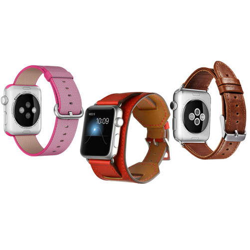 Set 2+1 Gratis, Curele Apple Watch iUni 42 mm Nylon Electric Pink, Piele 4 in 1 Cuff Rosu, Piele Vintage Brown