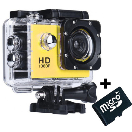 Camera Sport iUni Dare 50i HD 1080P, 12M, Waterproof, Galben + Card MicroSD 8GB Cadou