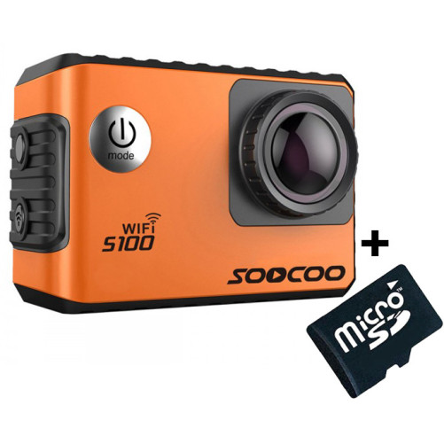 Camera Video Sport 4K iUni Dare S100 Orange, WiFi, GPS, mini HDMI, 2 inch LCD + Card MicroSD 16GB Cadou