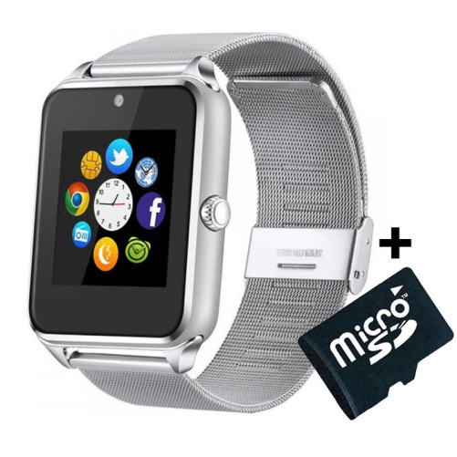 Ceas Smartwatch cu Telefon iUni Z60, Curea Metalica, Touchscreen, Camera, Notificari, Silver + Card MicroSD 4GB Cadou