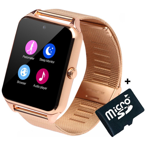 Ceas Smartwatch cu Telefon iUni Z60, Curea Metalica, Touchscreen, Camera, Notificari, Gold + Card MicroSD 4GB Cadou