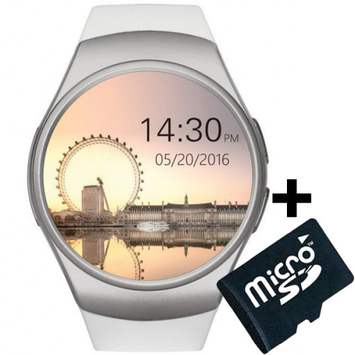 Ceas Smartwatch cu Telefon iUni KW18, Touchscreen 1.3 Inch, Notificari, iOS, Android, White + Card MicroSD 4GB Cadou