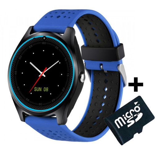 Ceas Smartwatch cu Telefon iUni V9 Plus, Touchscreen, 1.3 Inch HD, Camera 2MP, iOS si Android, Albastru + Card MicroSD 4GB
