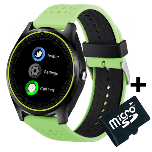 Ceas Smartwatch cu Telefon iUni V9 Plus, Touchscreen, 1.3 Inch HD, Camera 2MP, iOS si Android, Verde + Card MicroSD 4GB
