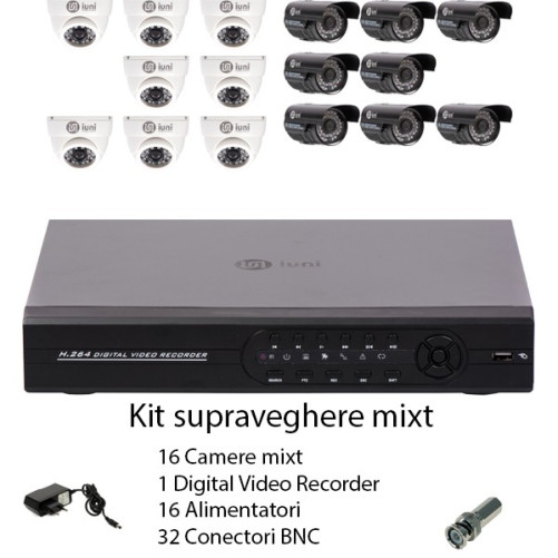Kit supraveghere 16 camere mixt