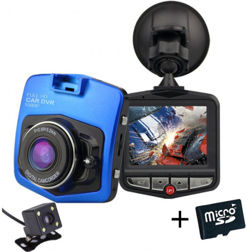 Camera auto Dubla iUni Dash 806, Full HD, 12Mpx, 2.5 Inch, 170 grade, Parking monitor, G senzor, Blue + Card 16GB Cadou