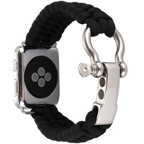 Curea pentru Apple Watch 38 mm iUni Elastic Paracord Rugged Nylon Rope, Negru