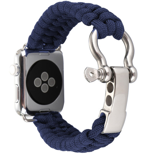 Curea pentru Apple Watch 42 mm iUni Elastic Paracord Rugged Nylon Rope, Midnight Blue