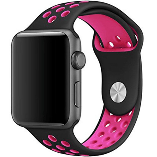 Curea pentru Apple Watch 42 mm Silicon Sport iUni Black-Dark Pink