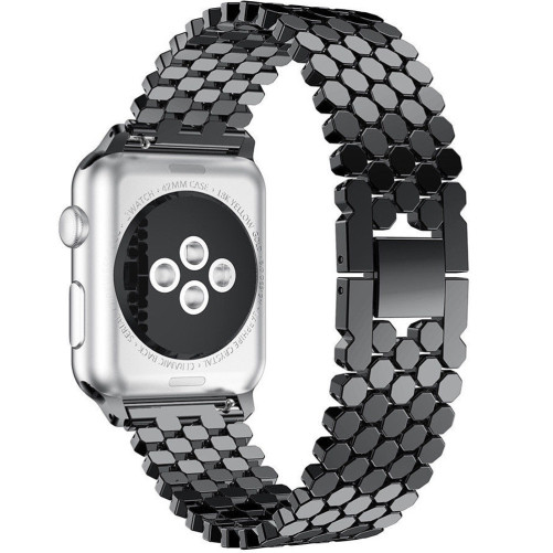 Curea pentru Apple Watch Black Jewelry iUni 38 mm Otel Inoxidabil