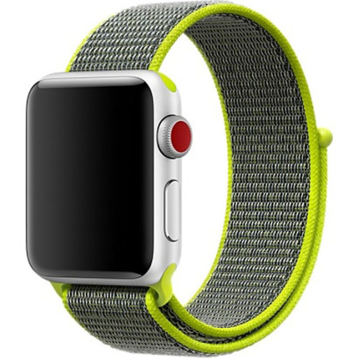 Curea pentru Apple Watch 38 mm iUni Woven Strap, Nylon Sport, Grey-Electric Green