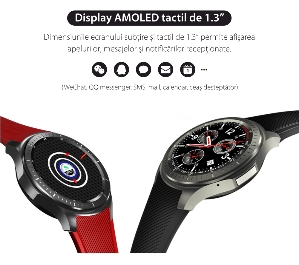 Display AMOLED tactil Smartwatch iUni DM368 Plus