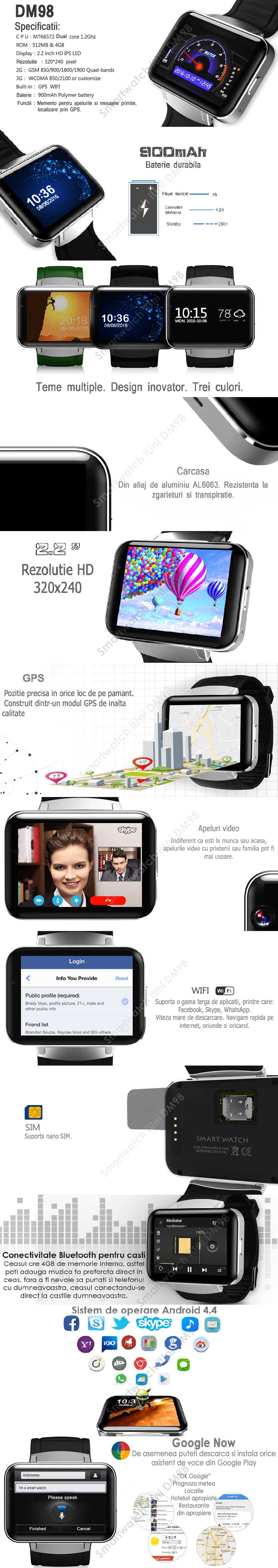 Smartwatch cu Telefon Android DM98 wifi, 3G camera