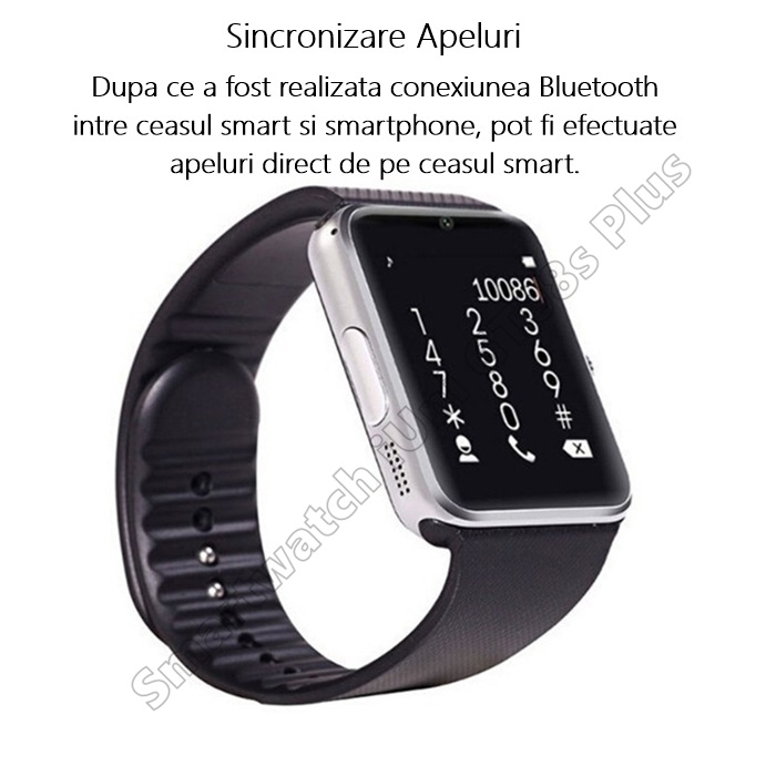 ceas smart GT08 bluetooth notificari