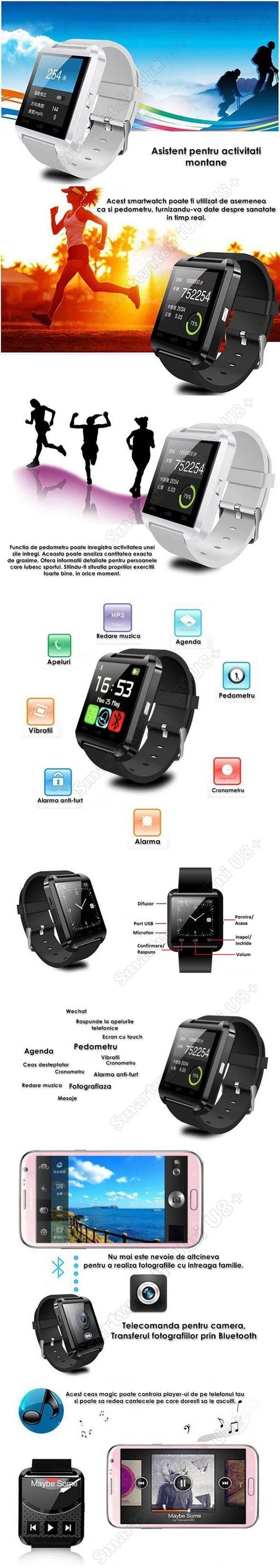 smartwatch iuni U8+ notificari bluetooth