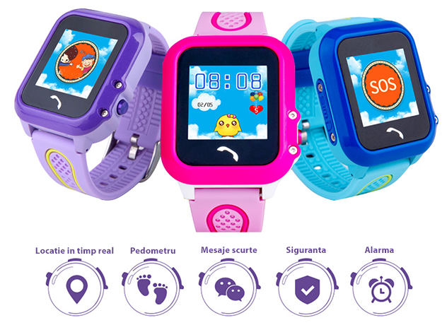 Ceas GPS Copii iUni Kid27, Touchscreen si Telefon, SOS