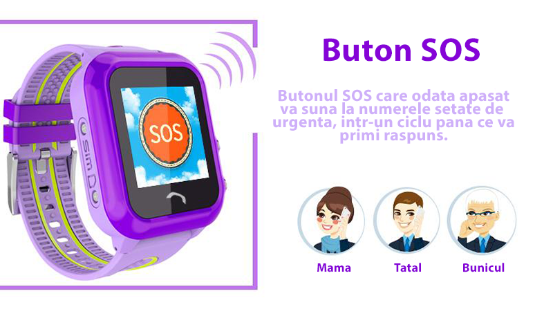 Ceas GPS Copii iUni Kid27, Touchscreen si Telefon, SOS-1