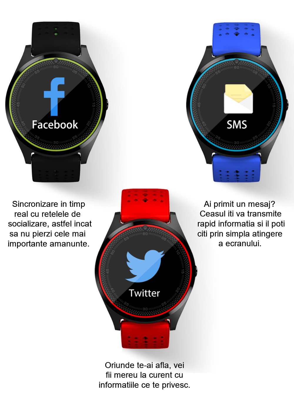 Ceas Smartwatch cu Telefon iUni V9 Plus, Touchscreen, Camera 2MP