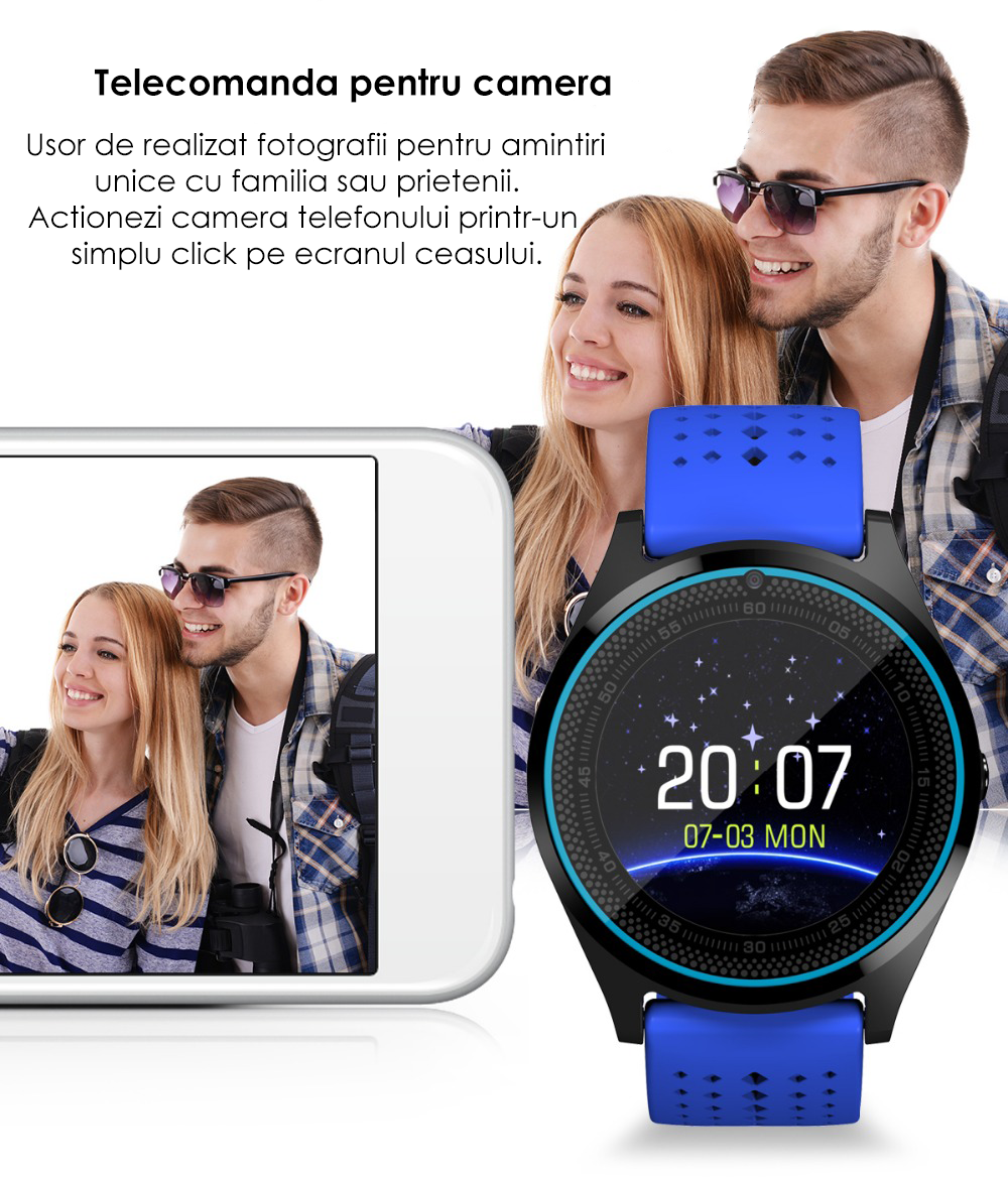 Ceas Smartwatch cu Telefon iUni V9 Plus, Touchscreen, Camera 2MP- 2